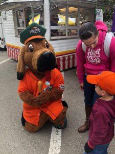 mascot with kid