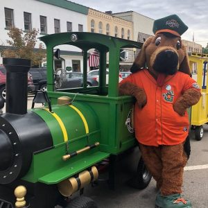 mascot with train